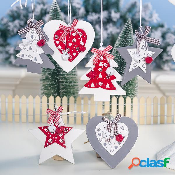 Enfeite de natal de madeira criativo com sino decoração da árvore de natal decoração de natal diy