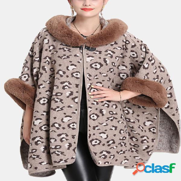 Gola de pele com estampa de leopardo casaco solto feminino