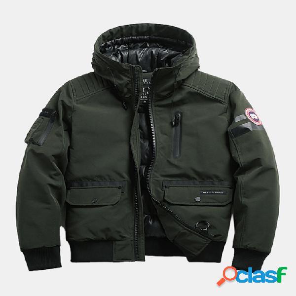 Homens de inverno multi bolsos cor sólida engrossar jaqueta com zíper com capuz destacável
