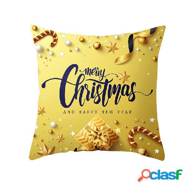 Jingle dourado feliz natal linho almofada caso casa sofá decoração de natal capa de almofada