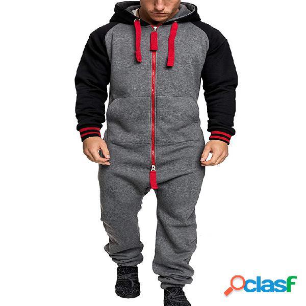Macacão masculino cor contrastante macacão loungewear algodão engrossar cinza escuro pijama hipster zip com capuz