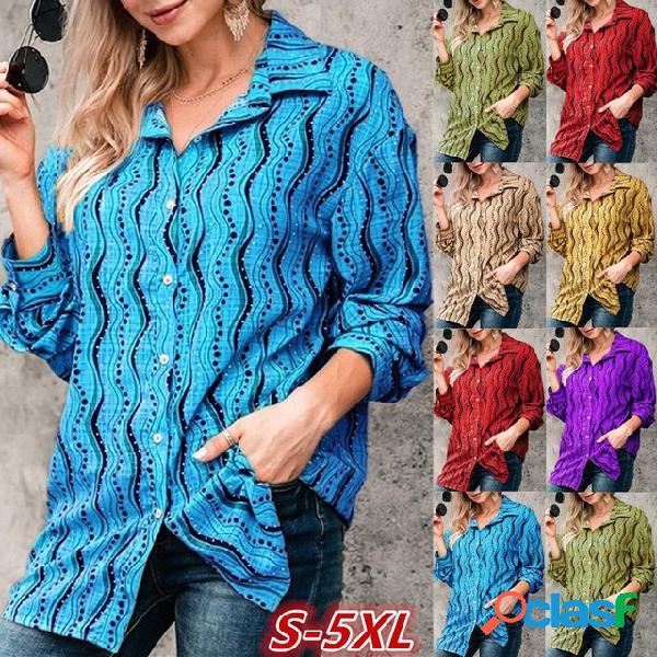 Manga comprida casual ondulada impressa colarinho feminino camisa
