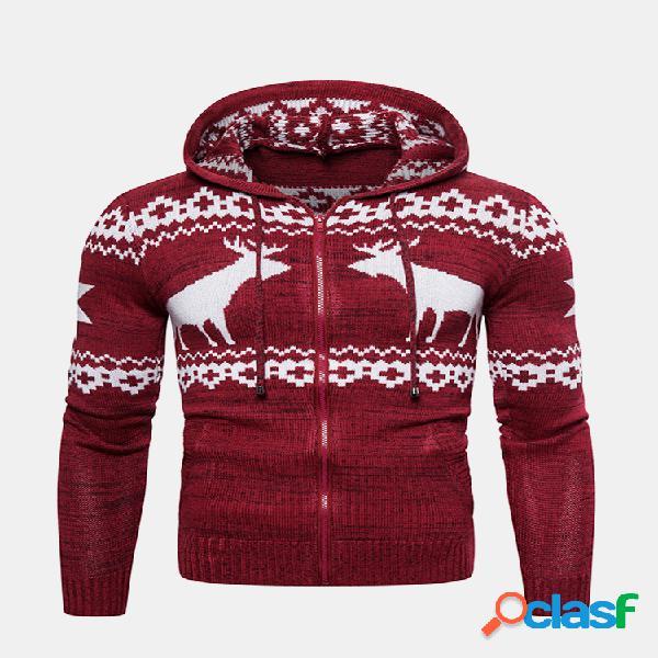 Mens fashion christmas deer impresso manga comprida casaco com capuz de malha