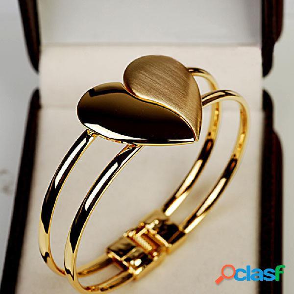 Pulseira moderna geométrica de metal fosco pêssego coração pulseira dupla brilhante coração