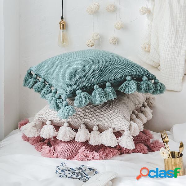 Travesseiro de lançamento de bola com franjas estilo nórdico travesseiro de lançamento de cor sólida caso home