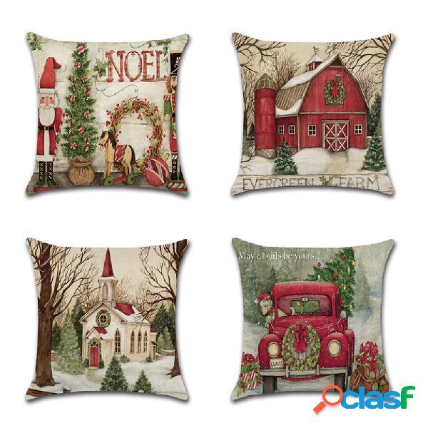 Travesseiro de linho de natal de papai noel retro cartoon caso sofá doméstico decoração de arte para presente de natal