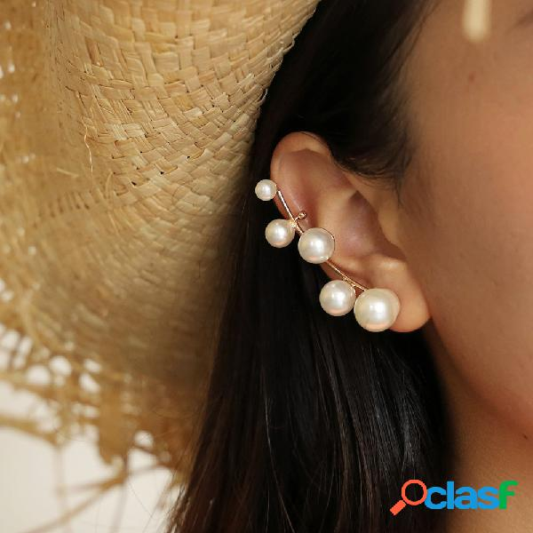 Vintage geometric pearl stud brincos pérola irregular de metal casual orelha clip brincos