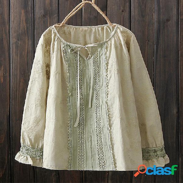 Bordado floral vintage camiseta solta o-pescoço rendas até blusa de manga longa