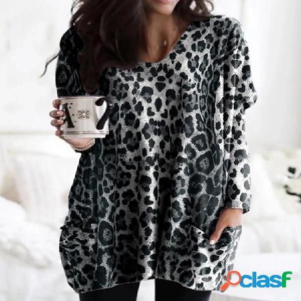 Camiseta casual estampa de leopardo de manga comprida solta para cima