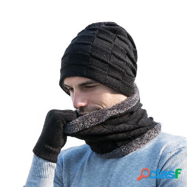 Chapéu luvas de cachecol de lã tricotada com três peças de lã de veludo chapéu