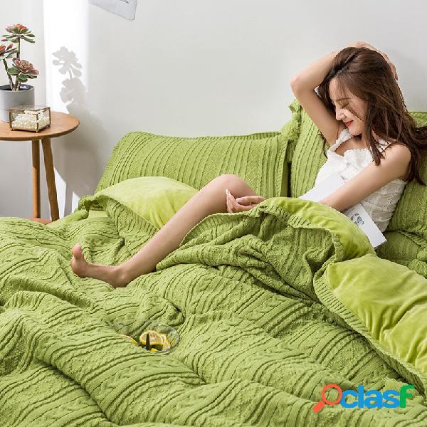 Conjunto de roupa de cama de lã de tricô com 4 peças thicken ab lado ab winter soft capa de edredom fronha tamanho king