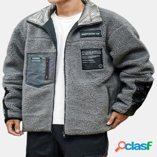 Mens casual thicken fleece warm multi bolsos patchwork zipper collar coats
