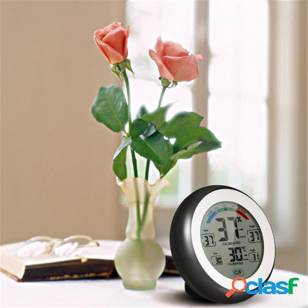 Multifuncional digital higrômetro temperatura umidade medidor de máx. mín. valor exibição ℃ / ℉ tela de toque