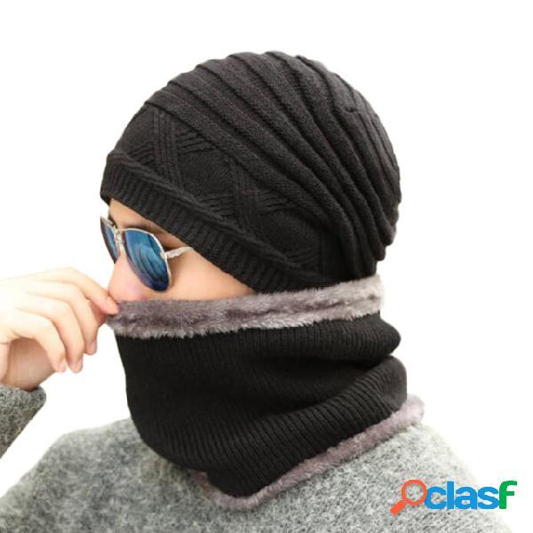 Tampas de cachecol lã grossa de veludo chapéu malha masculina chapéu