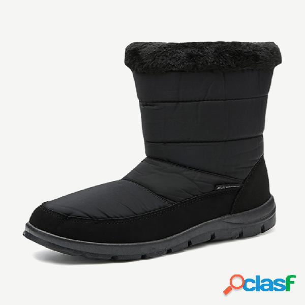 Zíper impermeável de inverno botas de neve planas com zíper quente resistente ao meio da panturrilha
