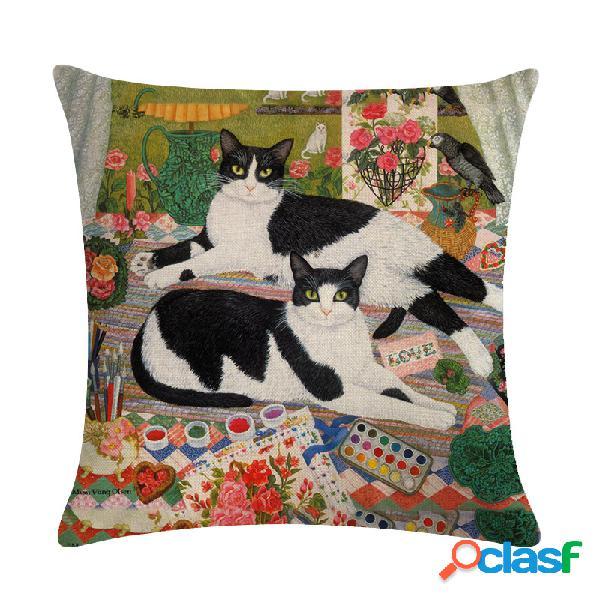 Capa de almofada de algodão estampada de linho vintage para gatos, decoração de sofá doméstico, cadeira de carro para escritório, fronhas