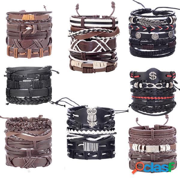 Conjunto de pulseiras punk vintage multicamadas folha pingente pulseira de couro pu de tecelagem artesanal