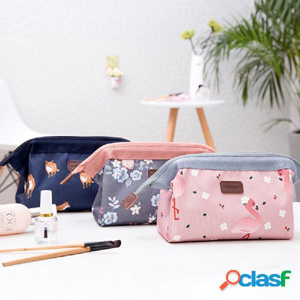 Flamingo art printing planta estilo retro cosméticos bolsa simples armazenamento portátil bolsa