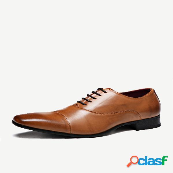 Masculino pu couro antiderrapante dedo do pé negócios casuais sapatos formais