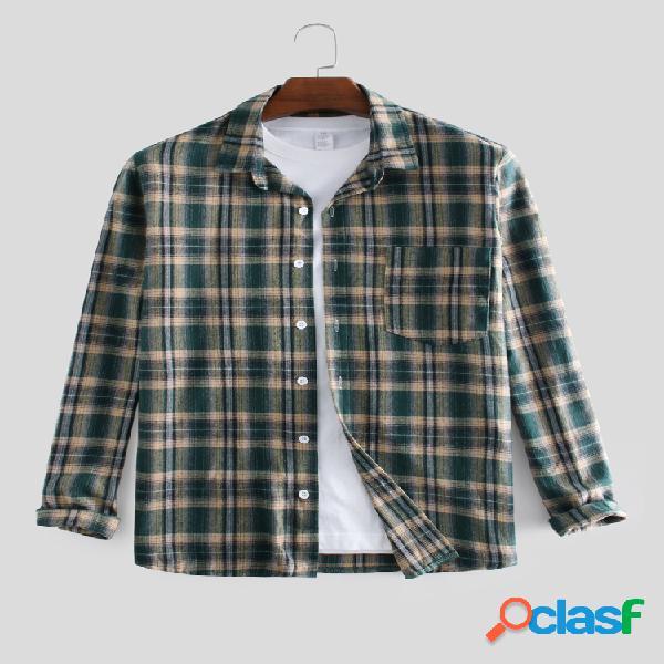 Mens 100% algodão xadrez casual manga comprida verificar camisa