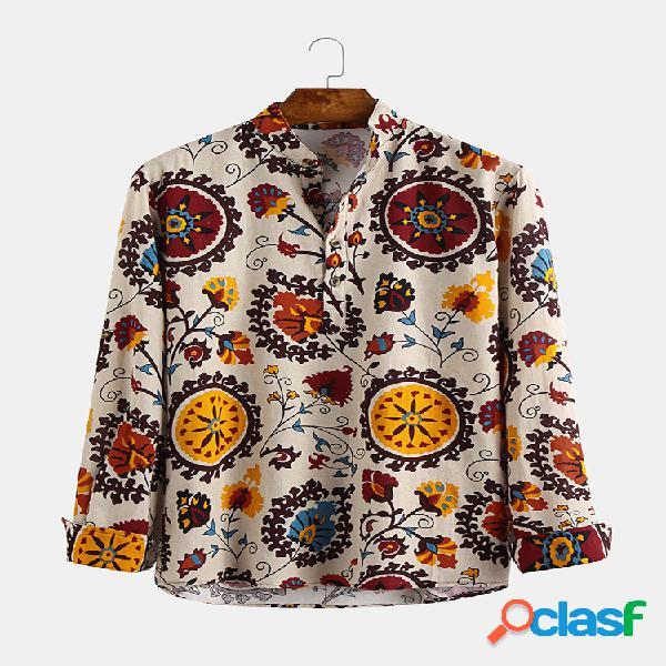 Mens estilo étnico impressão floral manga comprida soltas camisas casuais henley