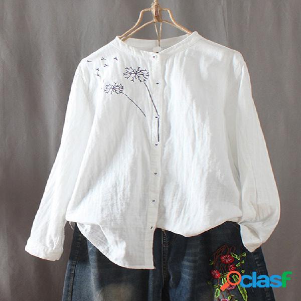 Blusa vintage bordada com decote redondo e manga longa