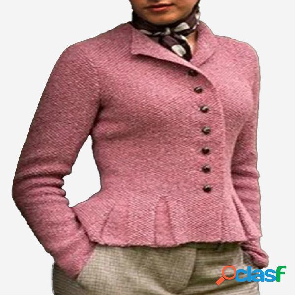 Cardigan de lapela de lapela de cor sólida plissada para mulheres