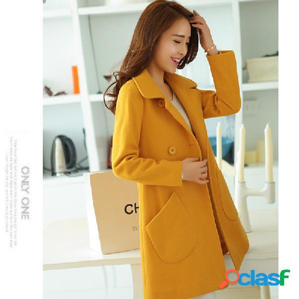 Casaco de lã de lapela longa e fina de manto casaco de lã