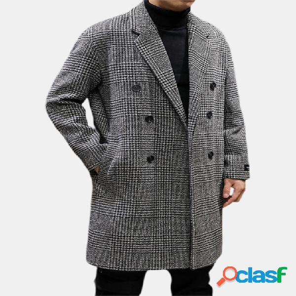 Casaco houndstooth simples mangas longas de lã quente