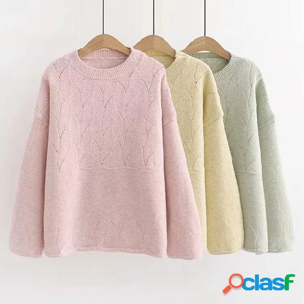 = colégio vento doces cor furacão oco costura em torno do pescoço pulôver camisola bottom sweater maré feminina