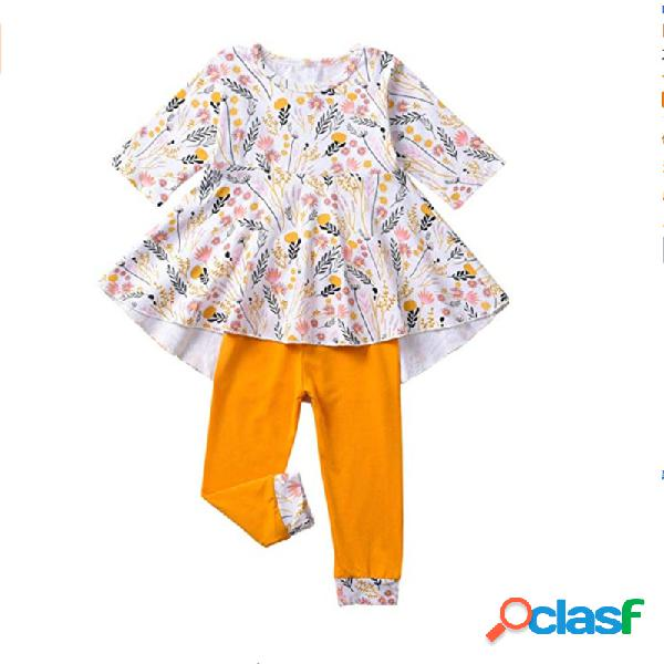 Estampa floral da menina mangas compridas casual soft conjunto para 2-9a