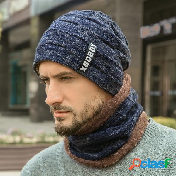Masculino de malha chapéu com veludo acolchoado lã gorro chapéu