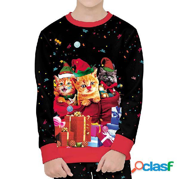 Meninas da criança e meninos natal dos desenhos animados gato 3d impressão camisola de mangas compridas para 4-13a