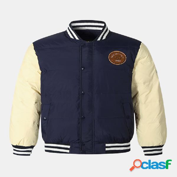 Mens engrossar patchwork contraste cor listra colar jaquetas à prova de vento