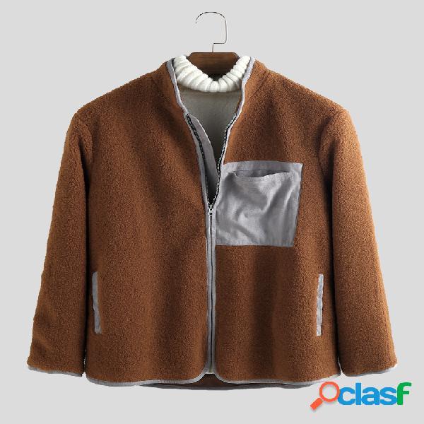 Mens polar fleece patchwork stand collar manga comprida casacos com zíper
