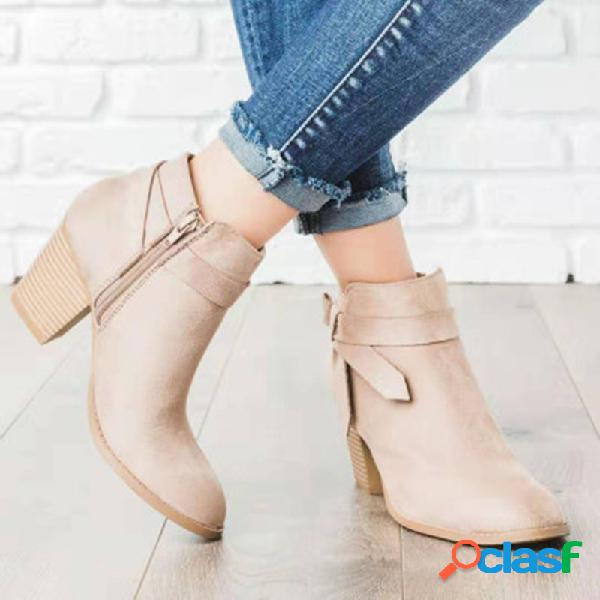 Mulheres de tamanho grande com zíper com tiras vintage botas de salto alto quadrado