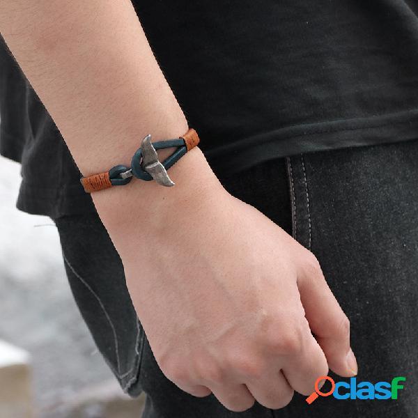 Punk geometric whale tail bracelet couro bracelete masculino pulseira vintage jóias