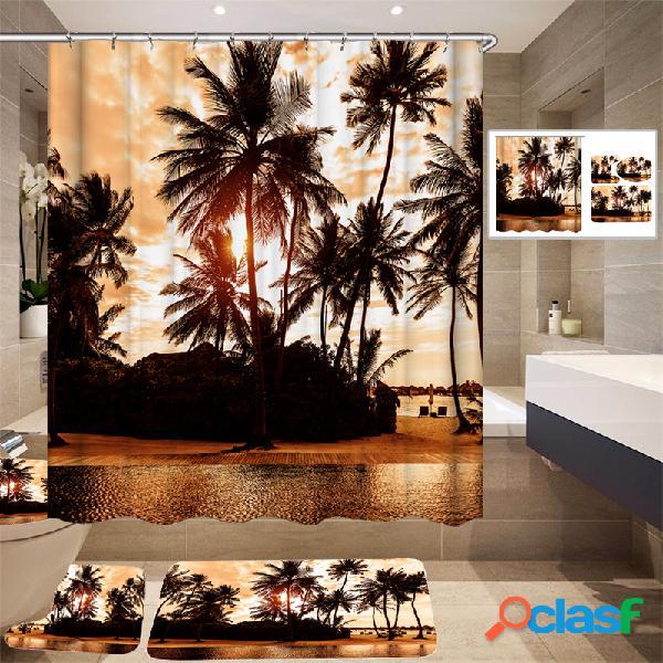 180 * 180 cm Tropical Design Cortina De Chuveiro / 3 pcs Tapetes Banheiro Conjunto De Tapete De Banho Quente