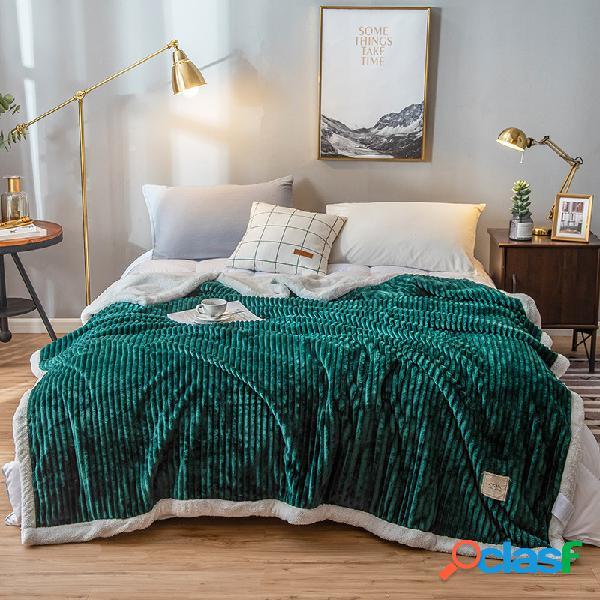200x230cm dupla face engrossar velocino veludo cobertor de inverno de cor sólida home soft cama