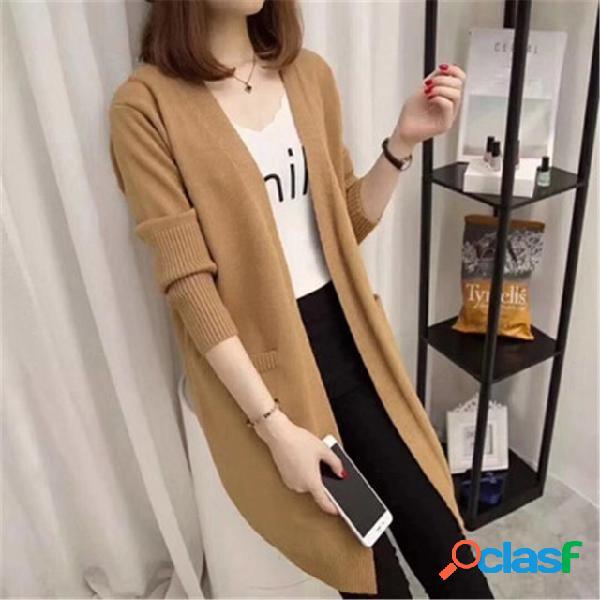 Casaco de malha de cor longa e solta feminina fora do novo bolso blusa de mangas compridas