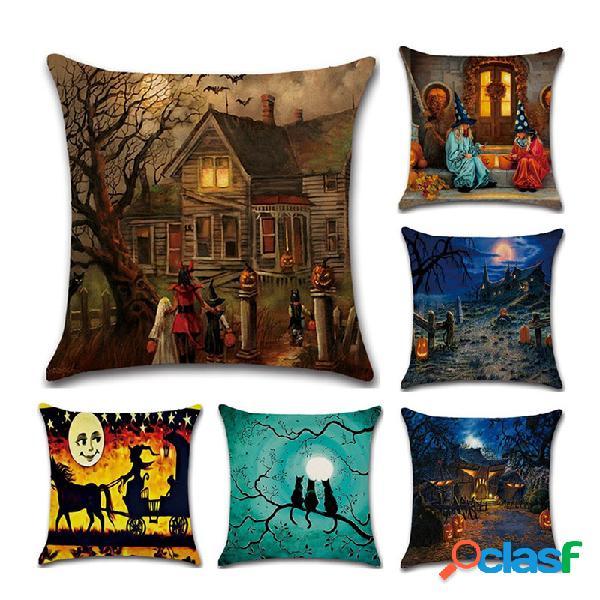 Halloween witches pumpkin padrão capa de almofada de linho para sofá doméstico decoração de halloween com arte