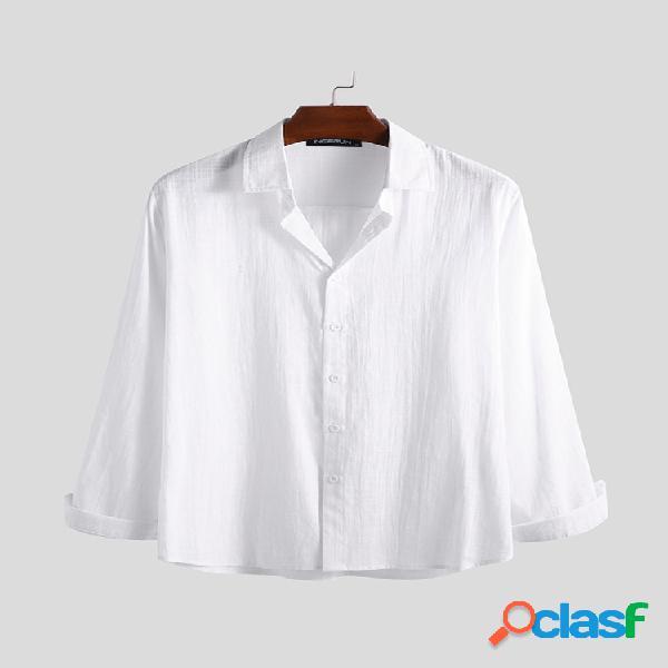 Linho dos homens manga comprida algodão casual botão para baixo blusa lisa camisas