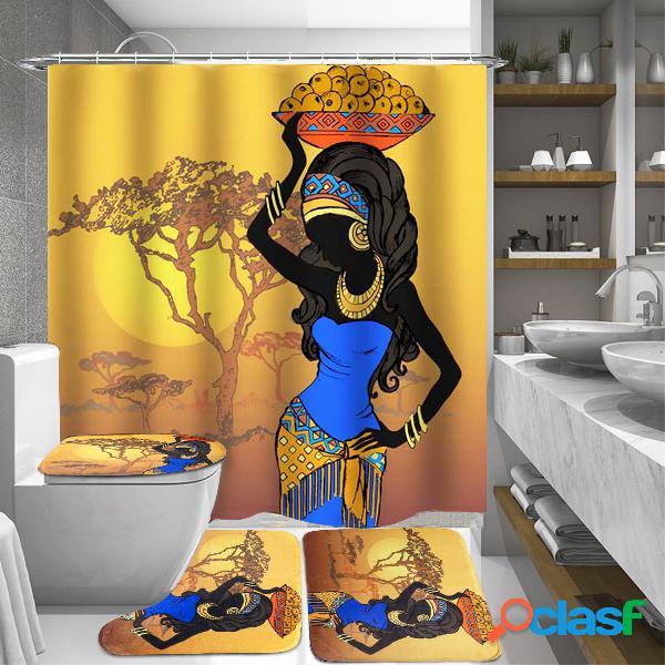 Meninas africanas exóticas banheiro tapete de cobertura de vaso sanitário de cortina de chuveiro tapete antiderrapante
