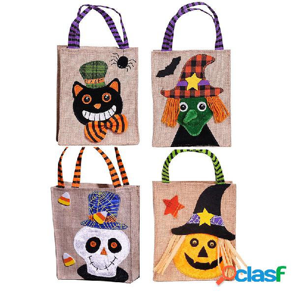 Presente do dia das bruxas bolsa abóbora preto gato branco fantasma presente da bruxa bolsa fantasma festival doces bolsa