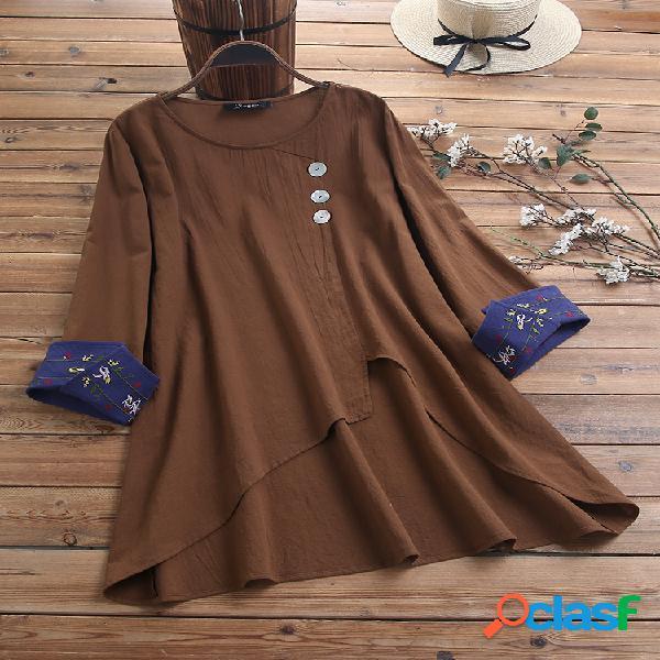 Blusa assimétrica do tamanho do algodão plus do punho floral do bordado