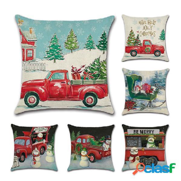 Boneco de neve de natal retrô padrão capa de almofada de linho, sofá doméstico, cadeira de carro para escritório, fronhas
