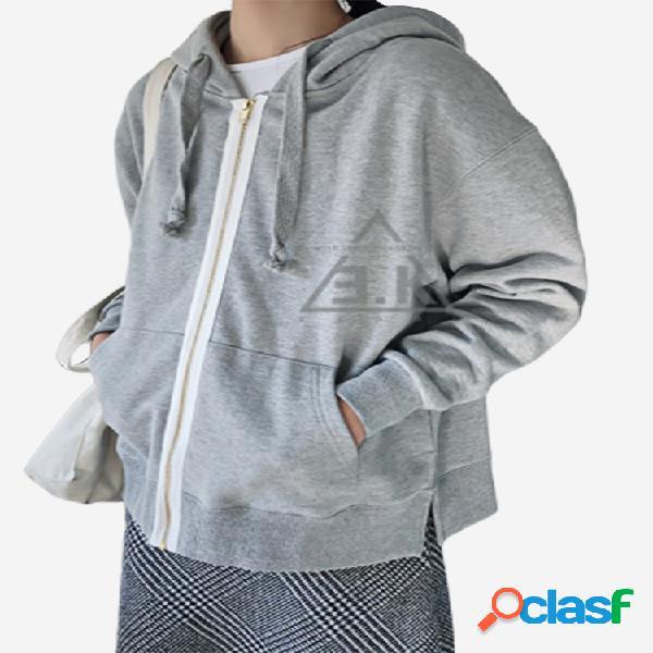 Cardigan de mangas compridas com zíper solta camisola com capuz de esportes finos