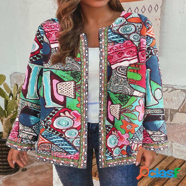 Jaquetas de algodão estilo étnico com estampa floral vintage tamanho plus