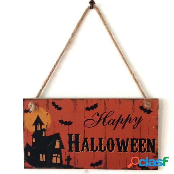 Porta de sinalização suspensa de madeira para decoração de halloween, suprimentos para festival