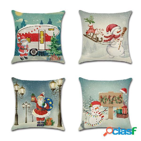 Retro christmas santa snowman padrão capa de almofada de linho sofá doméstico soft fronhas decorativas artísticas